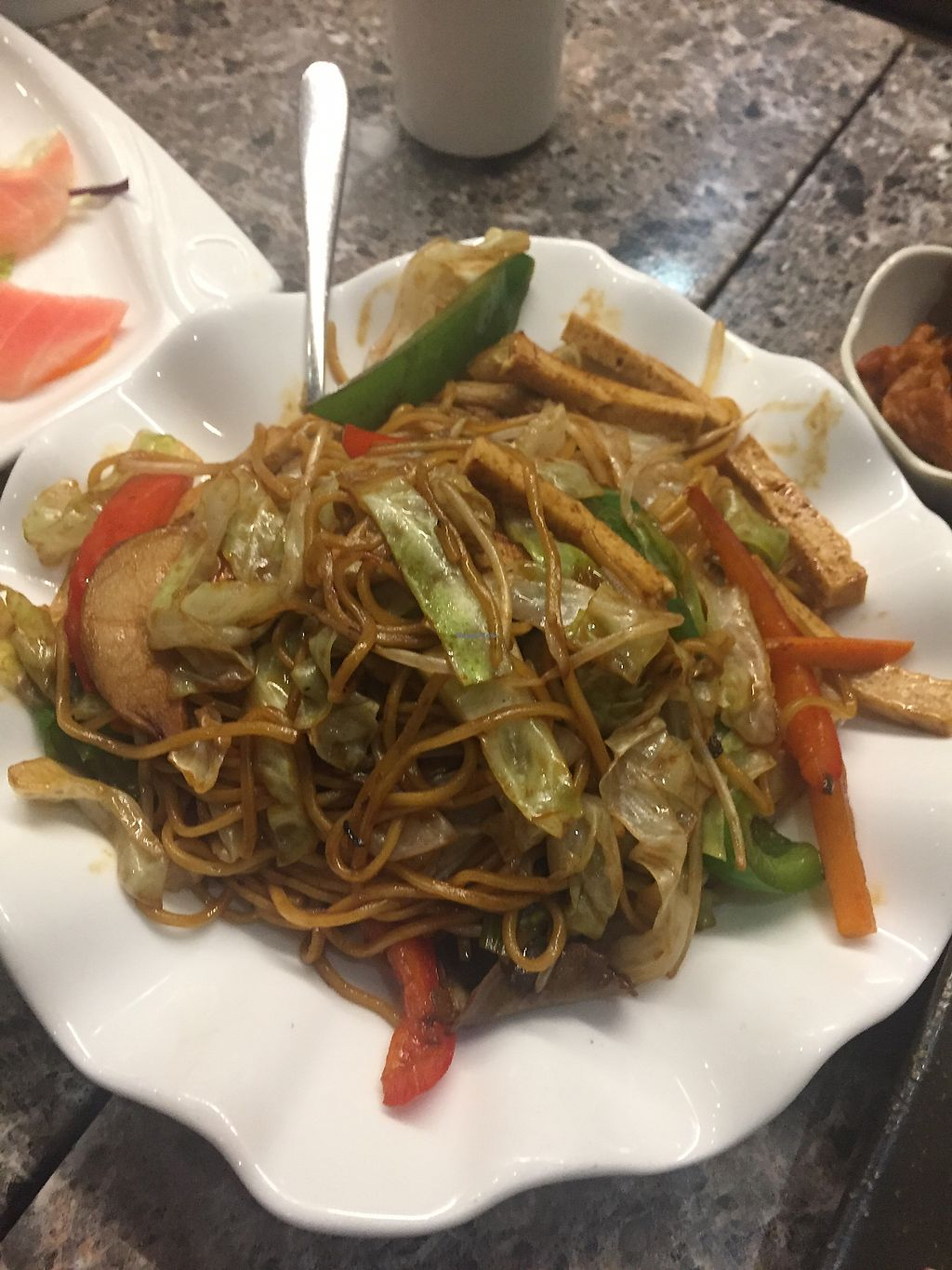 "Photo of Green Veggie - Wan Chai  by <a href=""/members/profile/Bobozmom"">Bobozmom</a> <br/>stir fried  noodles with veggie chicken and vegetables <br/> August 30, 2017  - <a href='/contact/abuse/image/60009/298975'>Report</a>"