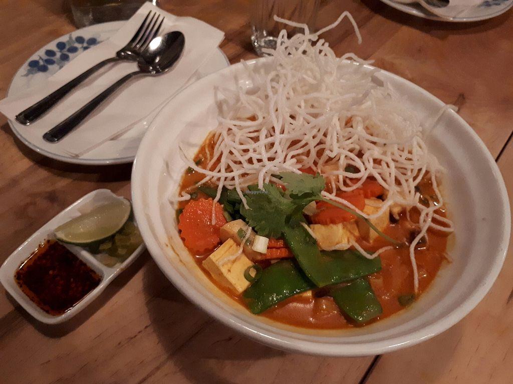"Photo of Sabai Sabai  by <a href=""/members/profile/Vegan%20GiGi"">Vegan GiGi</a> <br/>Vegan khao soi. Yellow curry, coconut milk, tofu, vegetables, and rice noodles. Yum.  <br/> July 14, 2017  - <a href='/contact/abuse/image/60010/280073'>Report</a>"