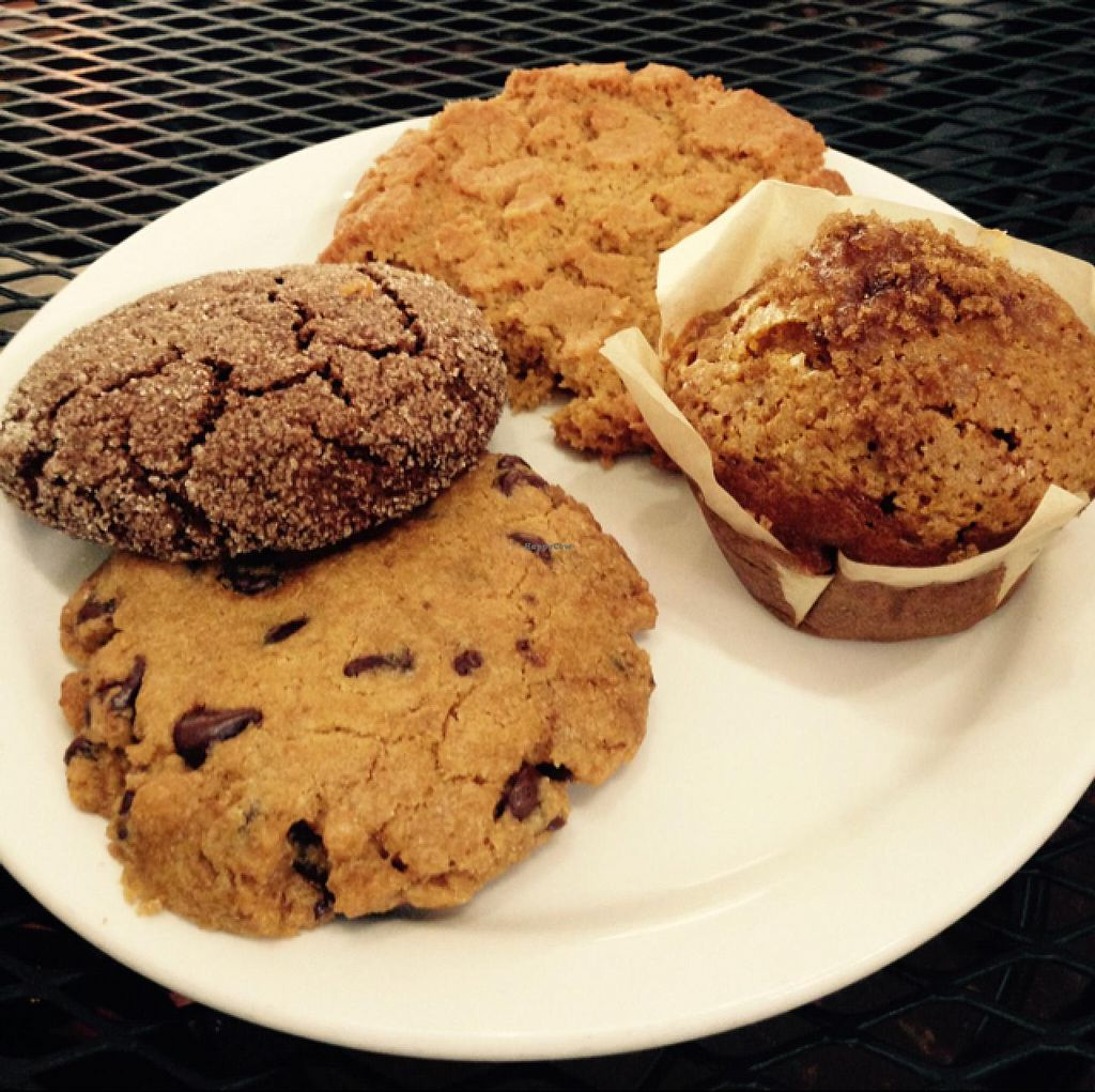 """Photo of Kaya's  by <a href=""""/members/profile/Labylala"""">Labylala</a> <br/>vegan pastries: pumpkin spice muffin & 3 kinds of cookies <br/> June 29, 2015  - <a href='/contact/abuse/image/60021/107711'>Report</a>"""