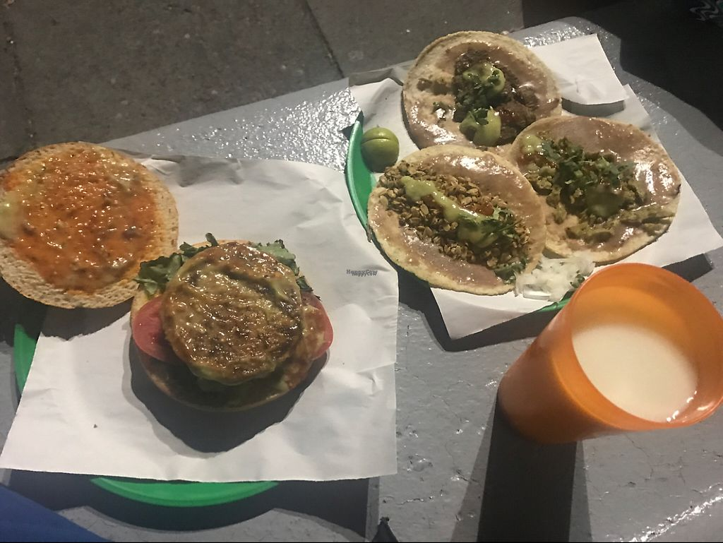 """Photo of Taqueria Calidad Vegana - Food Stall  by <a href=""""/members/profile/Mathew23"""">Mathew23</a> <br/>burger, 3 tacos, pumpkin seed drink for around 80-100 pesos.  <br/> March 10, 2017  - <a href='/contact/abuse/image/60024/234931'>Report</a>"""