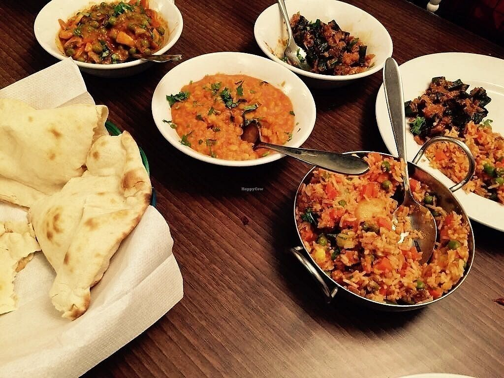 """Photo of Singh's  by <a href=""""/members/profile/TARAMCDONALD"""">TARAMCDONALD</a> <br/>Main course, 3 vegetable dishes all 100% vegan :) <br/> July 22, 2017  - <a href='/contact/abuse/image/60091/283400'>Report</a>"""