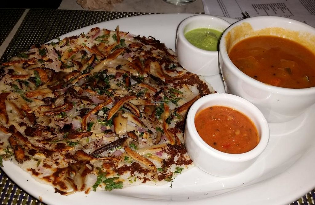 """Photo of Paper Dosa  by <a href=""""/members/profile/bduboff"""">bduboff</a> <br/>Uttapam Mushroom Medley (vegan) <br/> July 4, 2015  - <a href='/contact/abuse/image/60095/209215'>Report</a>"""