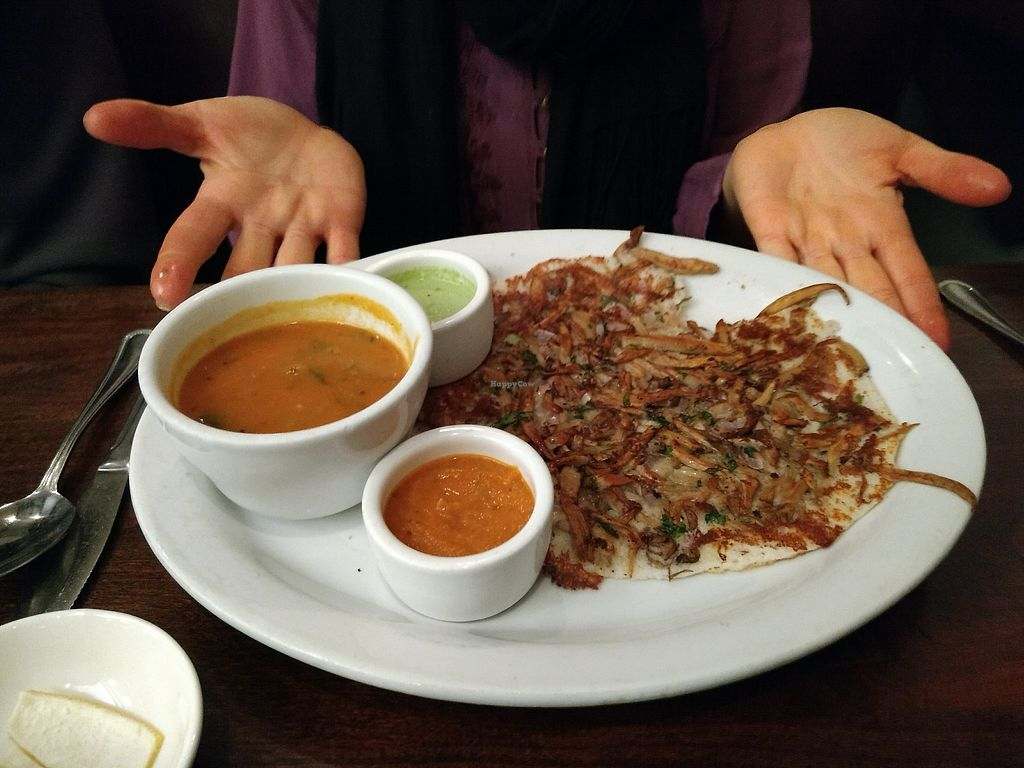 """Photo of Paper Dosa  by <a href=""""/members/profile/bduboff"""">bduboff</a> <br/>Mushroom Medley Uttapam  <br/> December 9, 2017  - <a href='/contact/abuse/image/60095/334019'>Report</a>"""