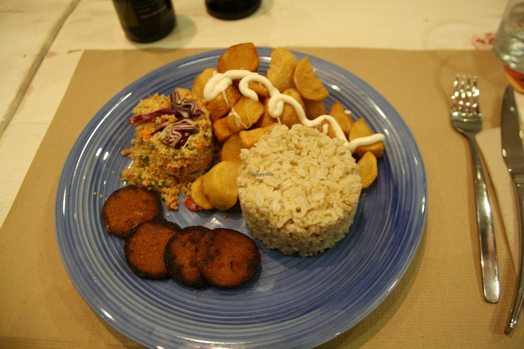 """Photo of Armonia  by <a href=""""/members/profile/Jemma86"""">Jemma86</a> <br/>Dinner of the day, vegan sausage, fried potatoes with aioli, couscous and rice.  <br/> September 3, 2015  - <a href='/contact/abuse/image/60120/116327'>Report</a>"""