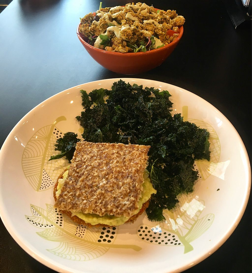 "Photo of Pure Alchemy  by <a href=""/members/profile/nljoyce104"">nljoyce104</a> <br/>Goddess Burger w/ Kale Chips and Falafel Rice Bowl <br/> December 23, 2017  - <a href='/contact/abuse/image/60123/338422'>Report</a>"