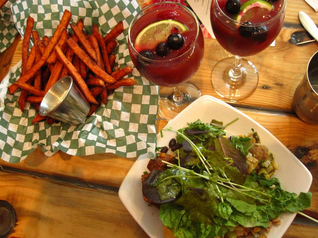"""Photo of Panthere Verte - St. Denis  by <a href=""""/members/profile/Babette"""">Babette</a> <br/>Sweet potatoe fries, sangria and an assortment of salads <br/> June 19, 2016  - <a href='/contact/abuse/image/60187/154737'>Report</a>"""
