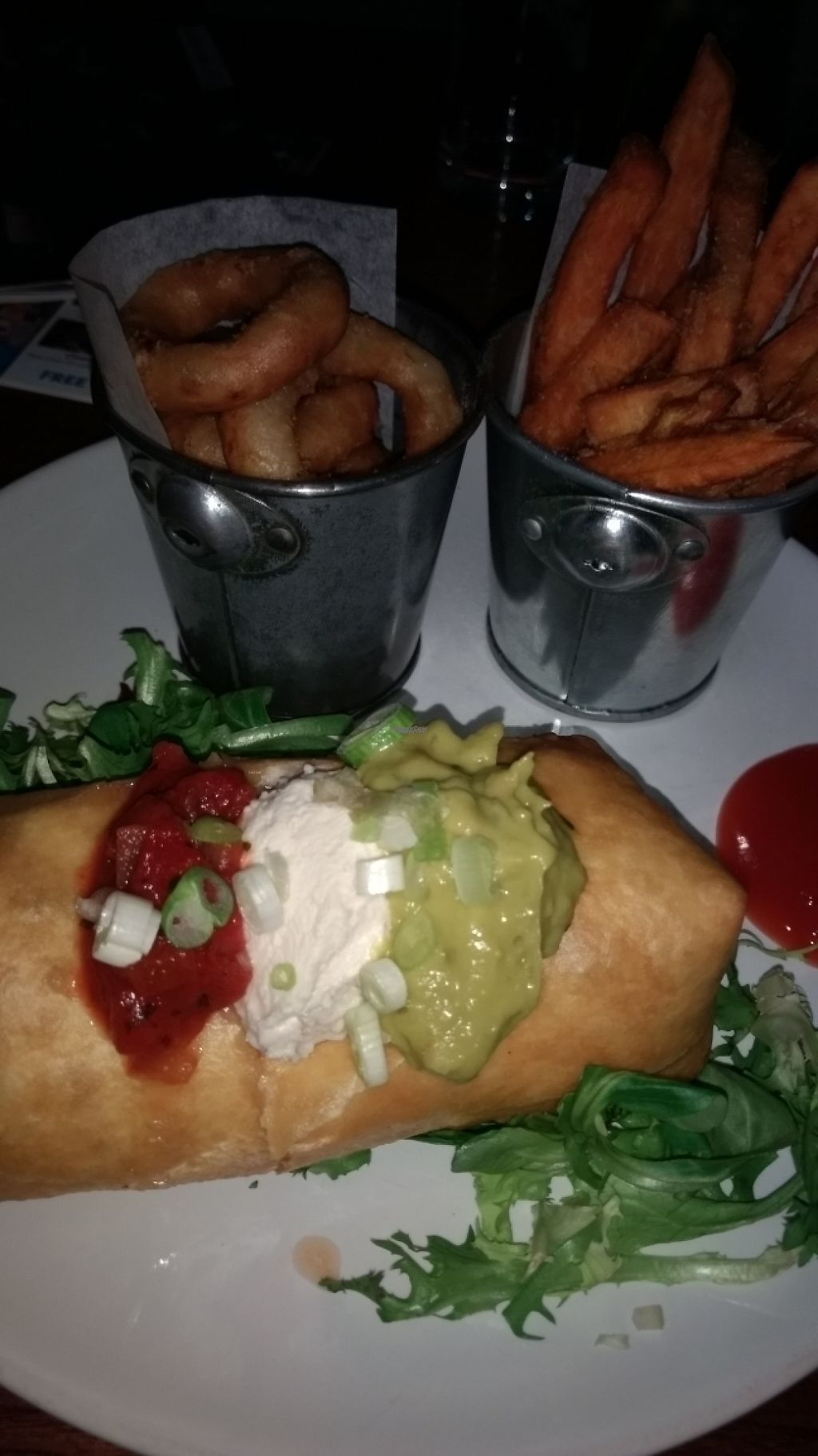 "Photo of The Bohemian  by <a href=""/members/profile/craigmc"">craigmc</a> <br/>vegan chimichanga,sweep potato fries and onion rings.  <br/> March 30, 2017  - <a href='/contact/abuse/image/60217/242738'>Report</a>"