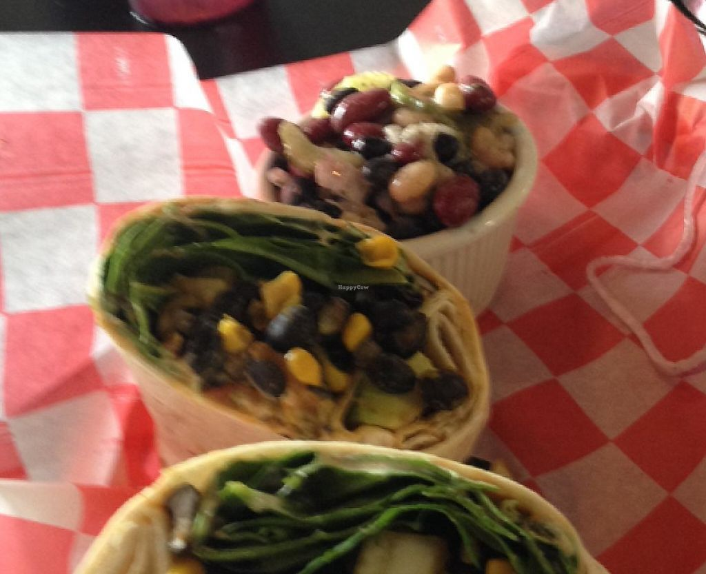 "Photo of REMOVED: New Albanian Brewing Company Cafe and Brewhouse  by <a href=""/members/profile/Heffpilot"">Heffpilot</a> <br/>black bean & corn wrap with three bean salad side <br/> July 4, 2015  - <a href='/contact/abuse/image/60225/200752'>Report</a>"