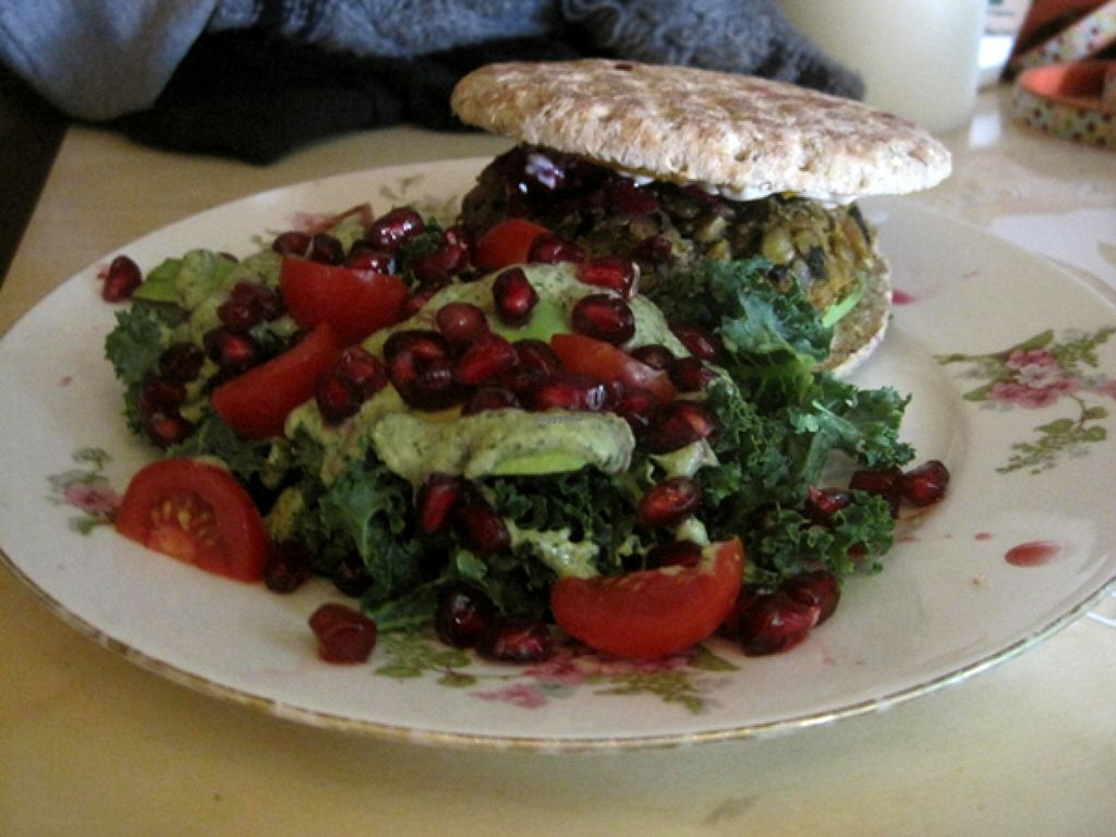 "Photo of Le Doggy Cafe  by <a href=""/members/profile/Babette"">Babette</a> <br/>Lentil burger with a side salad (kale, pomegranate, avocado). This is one of my favorite things at Doggy Café <br/> January 30, 2016  - <a href='/contact/abuse/image/60226/134210'>Report</a>"