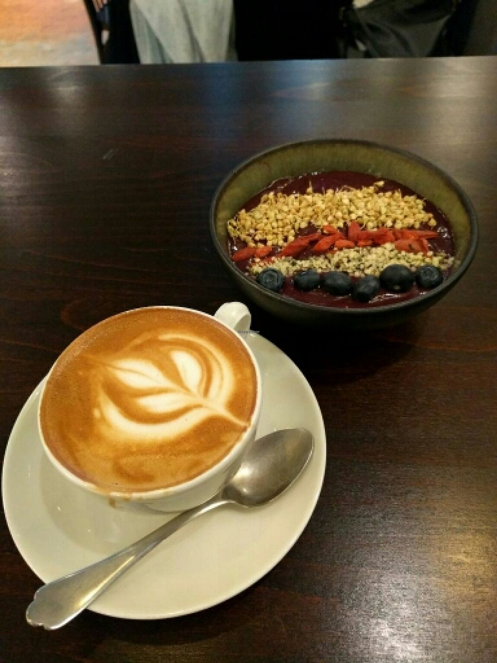 """Photo of Roots - Lintheschergasse  by <a href=""""/members/profile/Hubs"""">Hubs</a> <br/>Superfood Acai bowl & cappuccino <br/> December 22, 2015  - <a href='/contact/abuse/image/60269/129513'>Report</a>"""