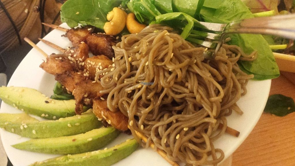 "Photo of Savory Chay  by <a href=""/members/profile/RheaElise"">RheaElise</a> <br/>The Vegan Grill Chicken Teriyaki auf Sobanudeln, with extra spinach on my request :) <br/> October 6, 2016  - <a href='/contact/abuse/image/60286/180107'>Report</a>"
