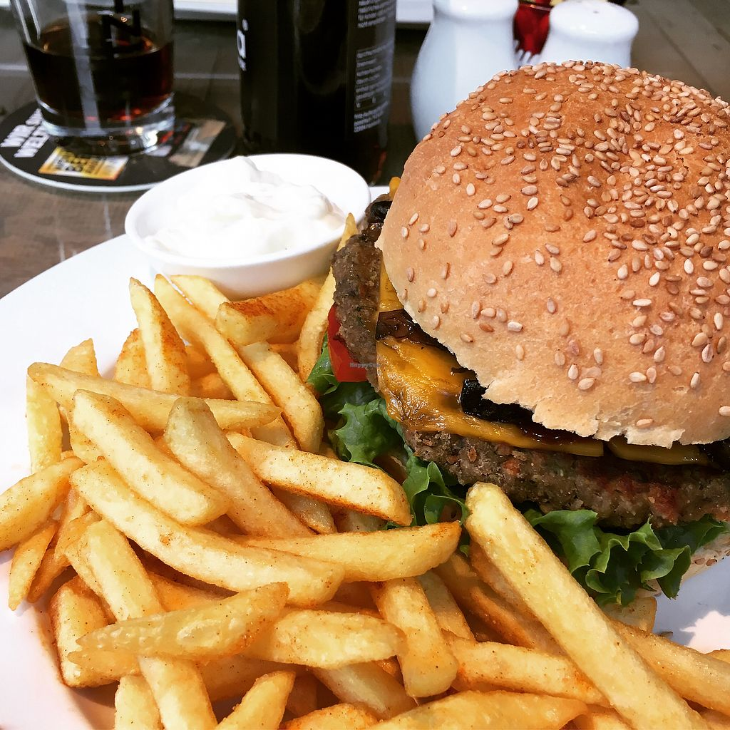 "Photo of Familienbetrieb  by <a href=""/members/profile/vegancookie243"">vegancookie243</a> <br/>The mushroom burger with a lentil patty, fries and the best vegan mayo ever <br/> July 31, 2017  - <a href='/contact/abuse/image/60304/287256'>Report</a>"