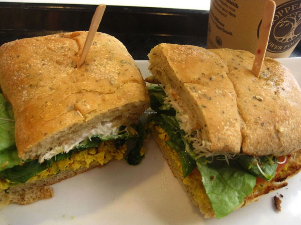 """Photo of Copper Branch - Maisonneuve  by <a href=""""/members/profile/Babette"""">Babette</a> <br/>TOFU SCRAMBLE SANDWICH on Organic Kamut Ciabatta (Organic seasoned tofu, red peppers, onions, lettuce, tomato, alfalfa sprouts, vegenaise). It is quite good <br/> February 16, 2016  - <a href='/contact/abuse/image/60358/136653'>Report</a>"""