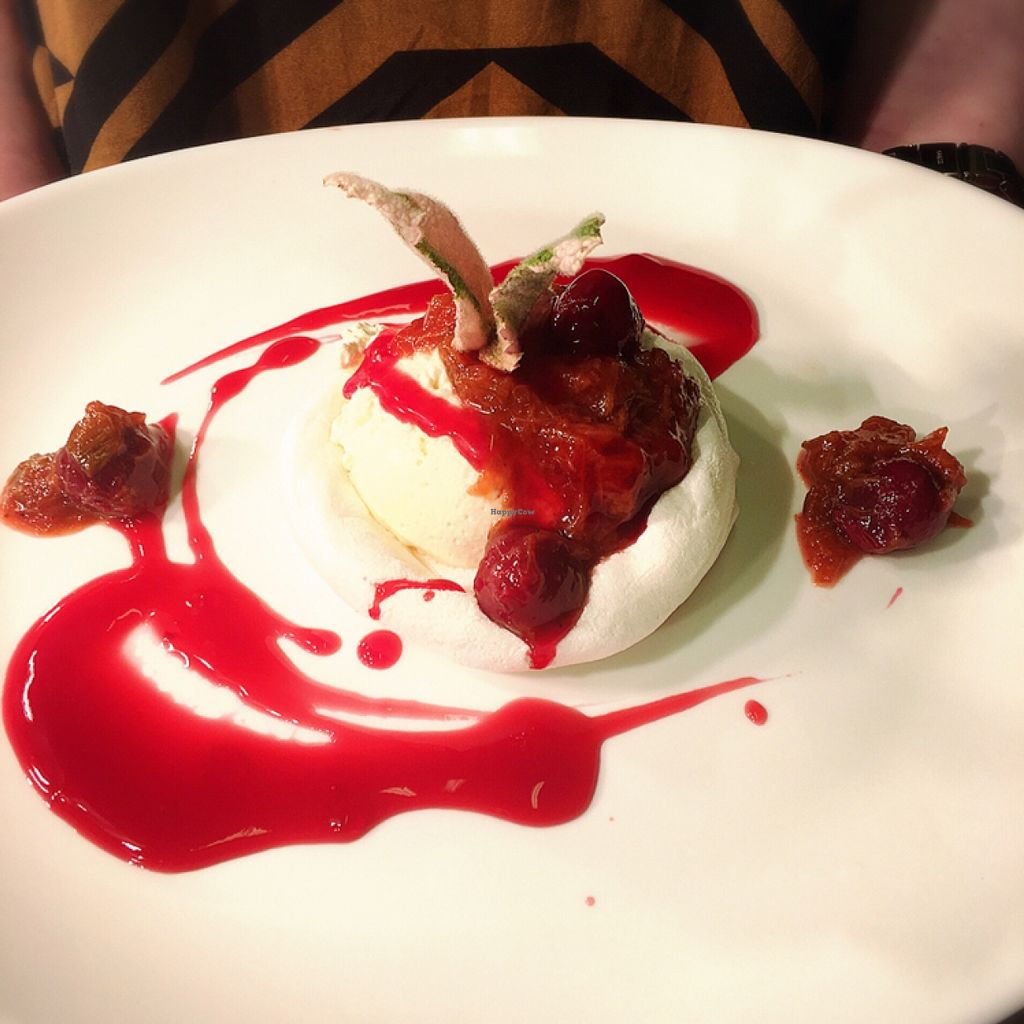 "Photo of Momo Restaurant  by <a href=""/members/profile/KamilaMomo"">KamilaMomo</a> <br/>vegan Pavlova with rhubarb and cherry compote  <br/> May 7, 2016  - <a href='/contact/abuse/image/60374/147903'>Report</a>"