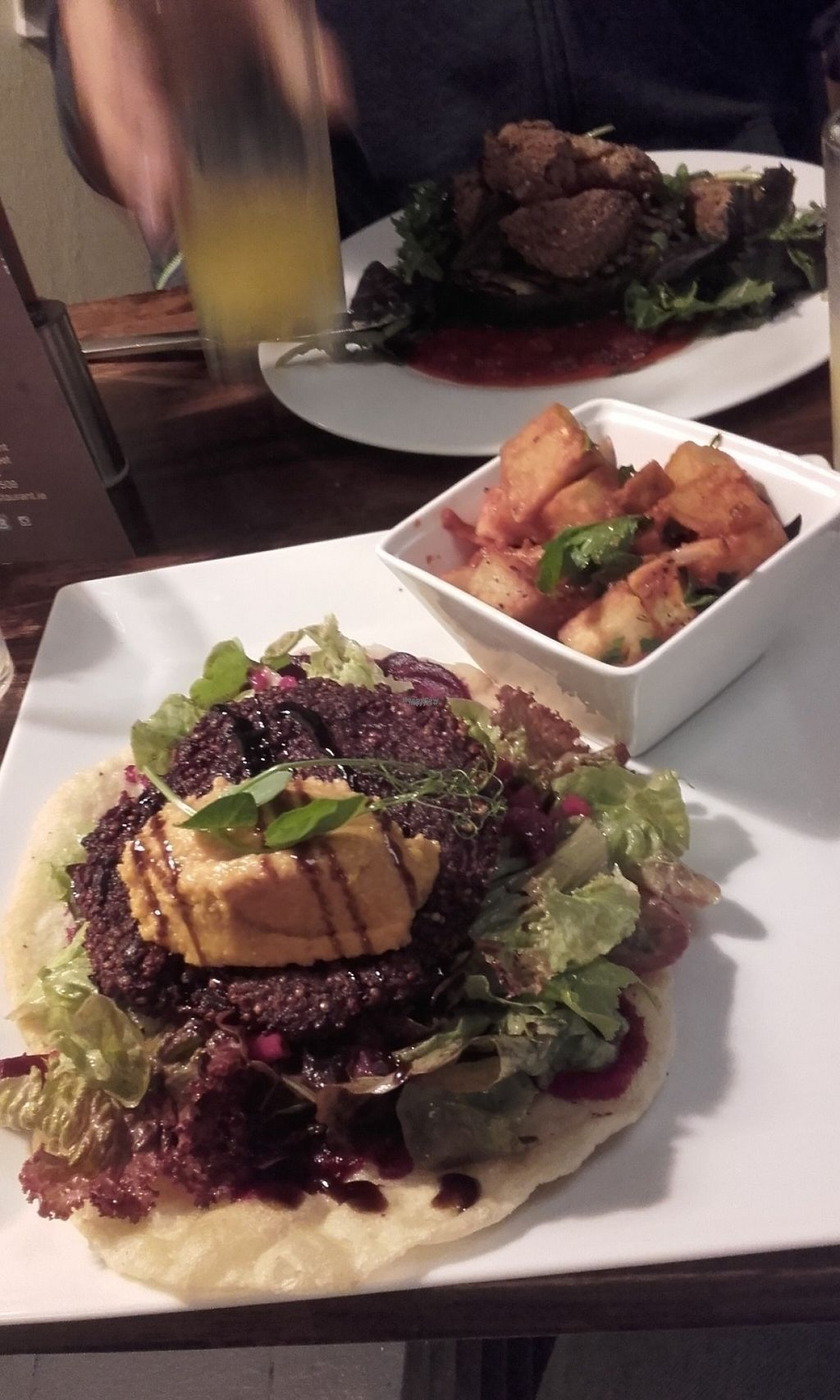 "Photo of Momo Restaurant  by <a href=""/members/profile/trollcat45"">trollcat45</a> <br/>quinoa/beetroot Patty with Indian-spiced Potatoes, green salad and flatbread with carrot-Hummus, Delicious! <br/> August 7, 2016  - <a href='/contact/abuse/image/60374/166671'>Report</a>"