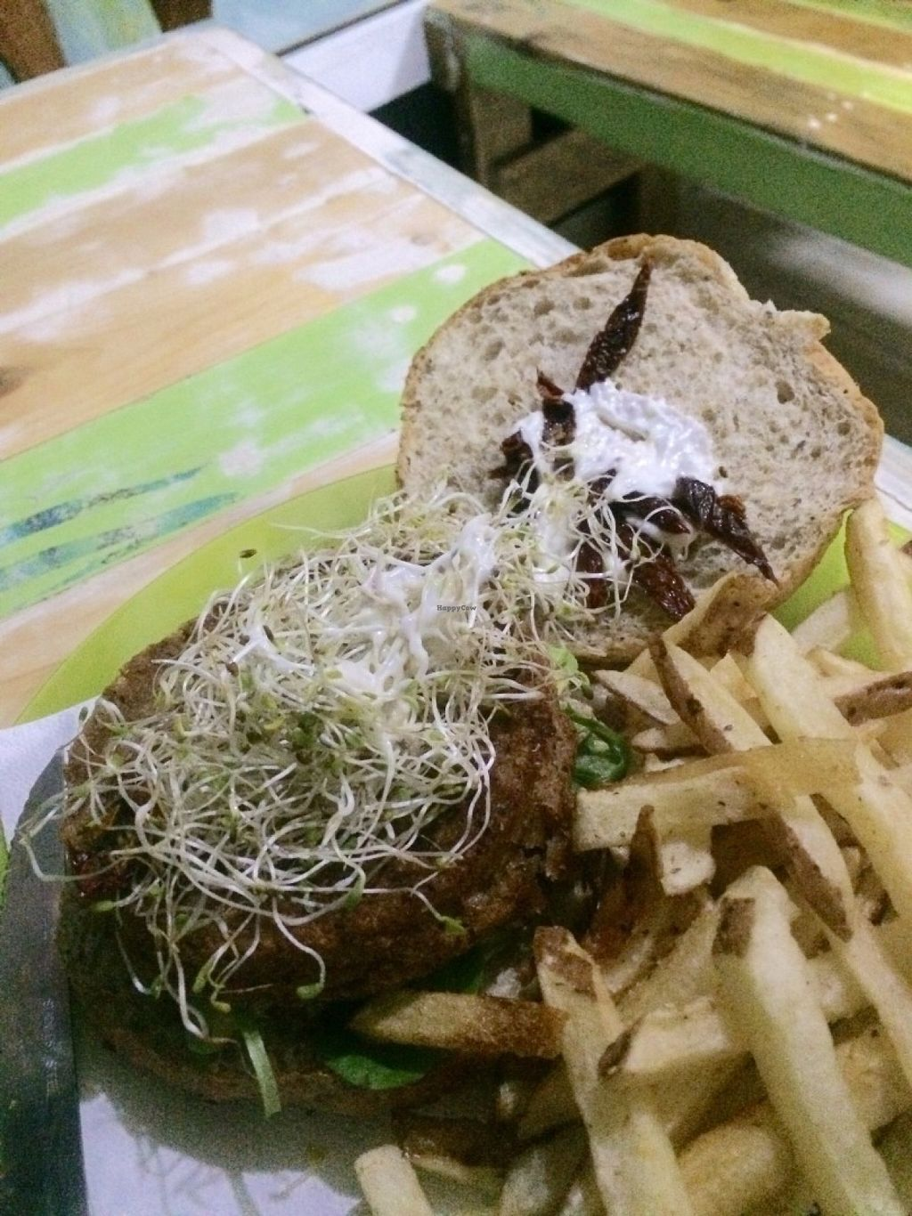 """Photo of D.Sanchez Fresh Food  by <a href=""""/members/profile/ellengdx"""">ellengdx</a> <br/>'Original' burger with the black bean patty <br/> July 16, 2016  - <a href='/contact/abuse/image/60375/160171'>Report</a>"""