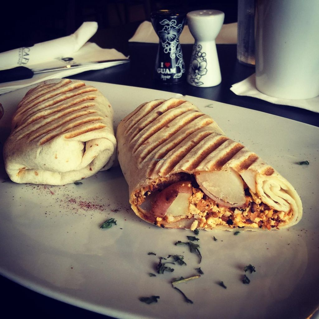 """Photo of Pika's Cafe  by <a href=""""/members/profile/JoannaBanana47"""">JoannaBanana47</a> <br/>Soy chorizo & tofu scramble burrito! Very good. Ask for no cheese to make it vegan <br/> July 9, 2015  - <a href='/contact/abuse/image/60377/108665'>Report</a>"""