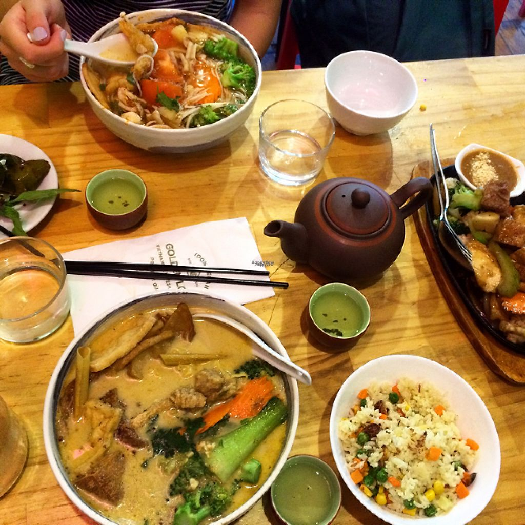 """Photo of Golden Lotus Vegan  by <a href=""""/members/profile/KaitlinM"""">KaitlinM</a> <br/>our main meal spread! <br/> March 8, 2017  - <a href='/contact/abuse/image/60395/234154'>Report</a>"""