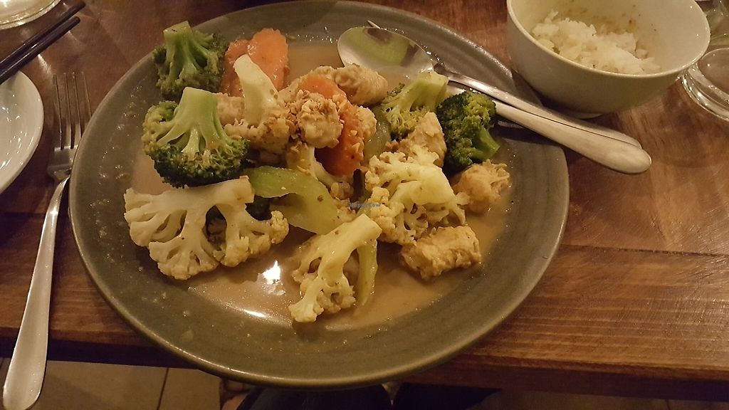 """Photo of Golden Lotus Vegan  by <a href=""""/members/profile/HappyDe"""">HappyDe</a> <br/>Vegan Chicken with vegetables and satay sauce <br/> June 2, 2017  - <a href='/contact/abuse/image/60395/264982'>Report</a>"""