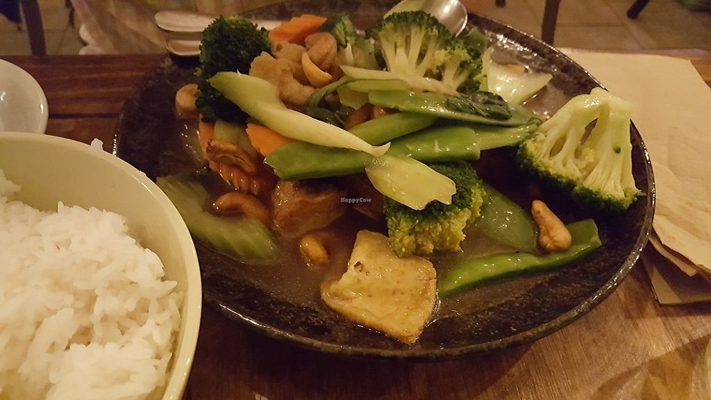 """Photo of Golden Lotus Vegan  by <a href=""""/members/profile/HappyDe"""">HappyDe</a> <br/>tofu stirfry with with vegetables and cashew nuts <br/> June 2, 2017  - <a href='/contact/abuse/image/60395/264983'>Report</a>"""