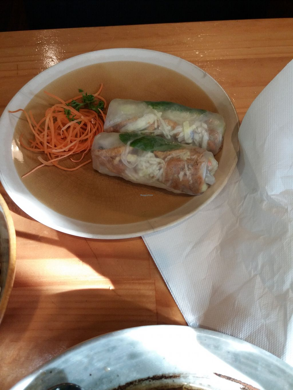 """Photo of Golden Lotus Vegan  by <a href=""""/members/profile/veganvirtues"""">veganvirtues</a> <br/>Spring rolls <br/> July 7, 2017  - <a href='/contact/abuse/image/60395/277368'>Report</a>"""