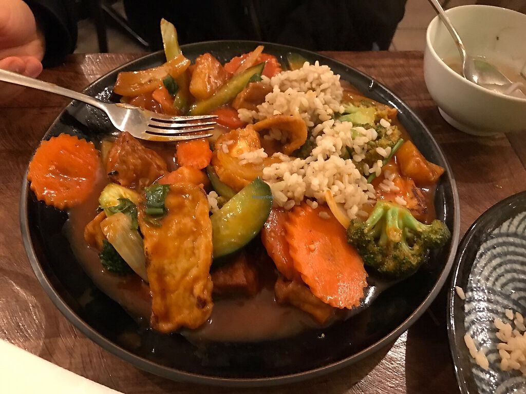 """Photo of Golden Lotus Vegan  by <a href=""""/members/profile/TheVeganPug"""">TheVeganPug</a> <br/>The sweet and sour tofu with rice <br/> August 24, 2017  - <a href='/contact/abuse/image/60395/296566'>Report</a>"""