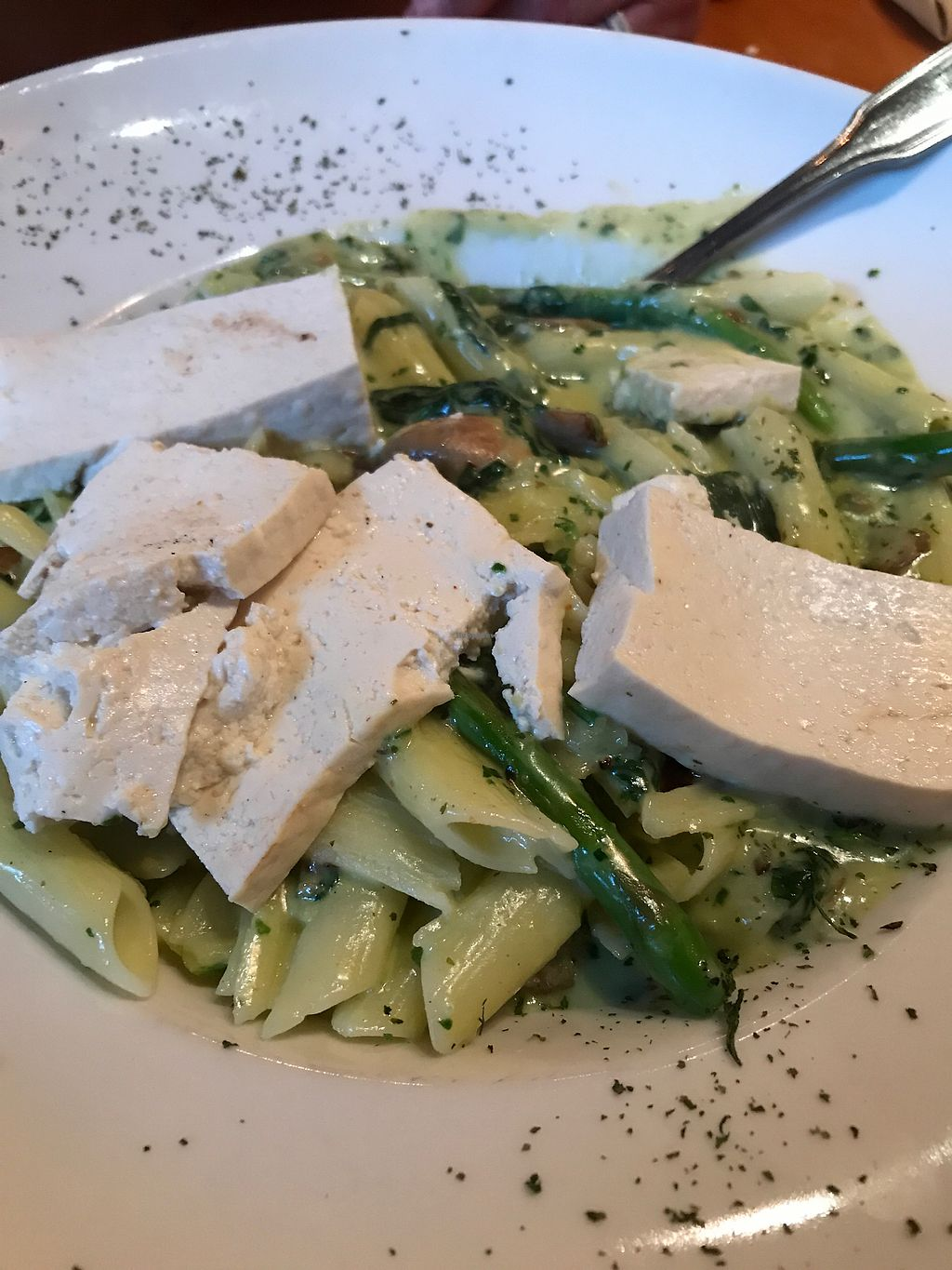 """Photo of Fitness Grill  by <a href=""""/members/profile/sjberrest"""">sjberrest</a> <br/>Asparagus Pasta with Smoked Tofu <br/> July 1, 2017  - <a href='/contact/abuse/image/60466/275439'>Report</a>"""
