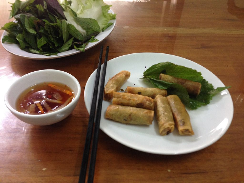 """Photo of Dai Loc  by <a href=""""/members/profile/Sarahmrussell"""">Sarahmrussell</a> <br/>spring rolls! not sure if I did the right thing but they gave me a plate of leaves and mint stuff so I wrapper the spring rolls in it  <br/> August 3, 2015  - <a href='/contact/abuse/image/60492/112094'>Report</a>"""