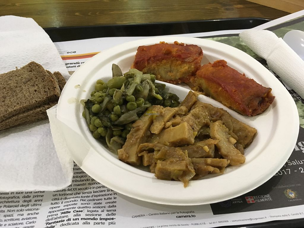 """Photo of Sapore Vegano  by <a href=""""/members/profile/EllenLucinda"""">EllenLucinda</a> <br/>3 dishes plate served with bread for €5.30. Seitan, a pea salad, and eggplant and cous could parcels <br/> February 6, 2018  - <a href='/contact/abuse/image/60497/355702'>Report</a>"""