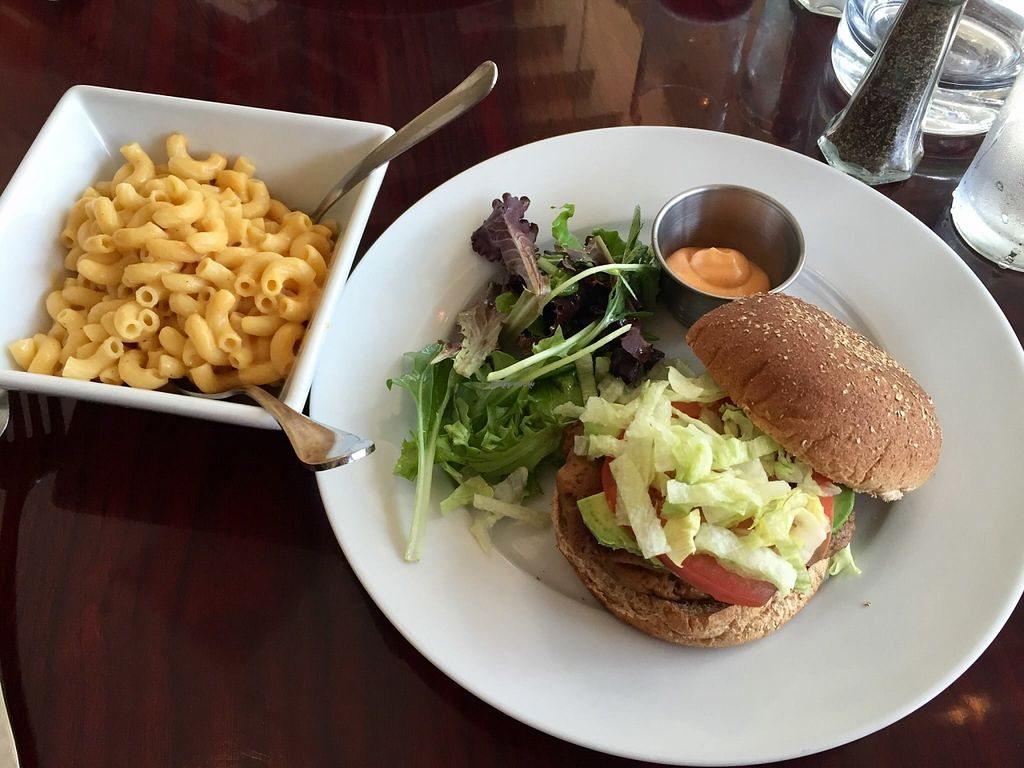 """Photo of CLOSED: Daya  by <a href=""""/members/profile/clovely.vegan"""">clovely.vegan</a> <br/>Seitan burger w/ mac & cheese! <br/> October 21, 2015  - <a href='/contact/abuse/image/60602/122051'>Report</a>"""