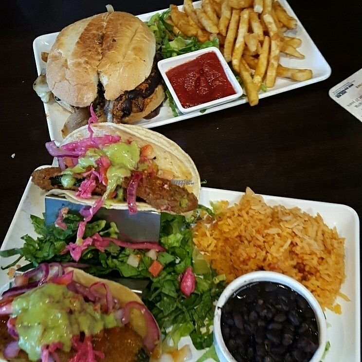"""Photo of Camino Real Kitchen and Tequila  by <a href=""""/members/profile/veganmirmaid"""">veganmirmaid</a> <br/>Their """"not fish"""" tacos and Veggie (black bean and soyrizo) burger.  <br/> September 18, 2016  - <a href='/contact/abuse/image/60663/176549'>Report</a>"""