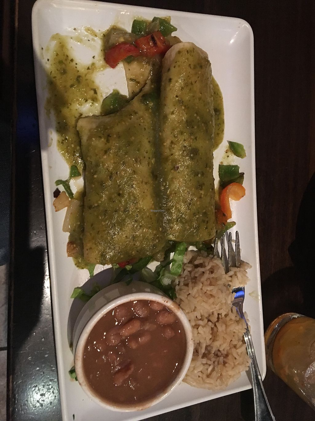 """Photo of Camino Real Kitchen and Tequila  by <a href=""""/members/profile/Brews"""">Brews</a> <br/>Veggie Enchiladas made vegan <br/> December 31, 2017  - <a href='/contact/abuse/image/60663/341178'>Report</a>"""