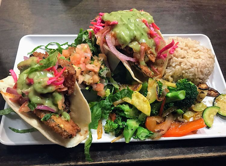 """Photo of Camino Real Kitchen and Tequila  by <a href=""""/members/profile/glassesgirl79"""">glassesgirl79</a> <br/>Fish tacos with brown rice and grilled veggies  <br/> April 15, 2018  - <a href='/contact/abuse/image/60663/386402'>Report</a>"""