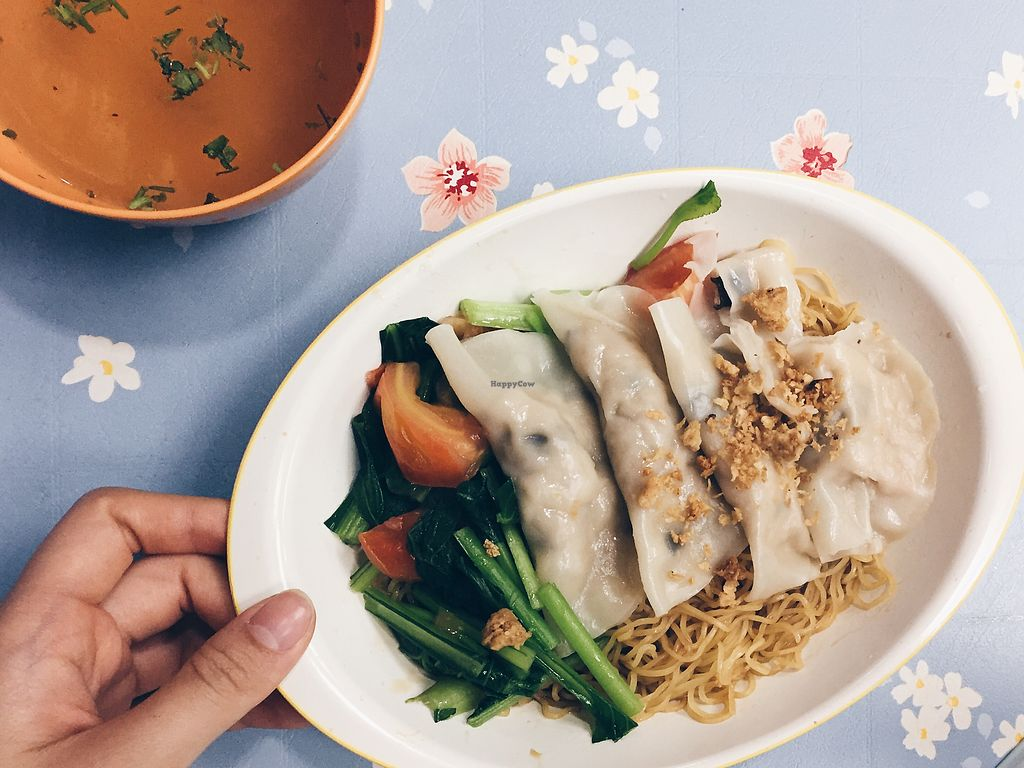 """Photo of Xiu Yuan Vegetarian Eating House  by <a href=""""/members/profile/consciouscookieee"""">consciouscookieee</a> <br/>Dumpling noodles ($5) <br/> March 21, 2018  - <a href='/contact/abuse/image/60707/373620'>Report</a>"""