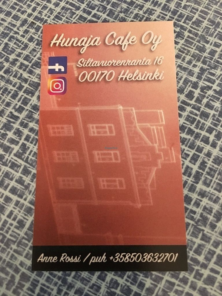 """Photo of Hunaja Cafe  by <a href=""""/members/profile/SP"""">SP</a> <br/>business card <br/> October 10, 2017  - <a href='/contact/abuse/image/60716/313821'>Report</a>"""