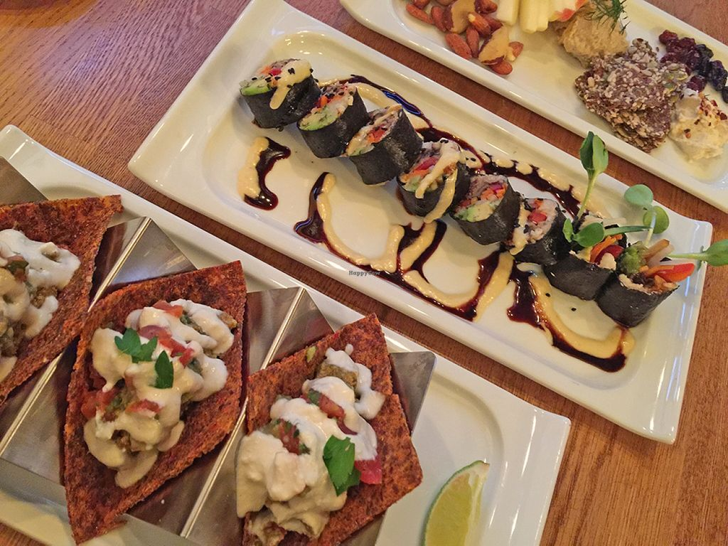 "Photo of Zend Conscious Lounge  by <a href=""/members/profile/Wheat-free%20Vegan"">Wheat-free Vegan</a> <br/>Spiced Corn and Defried Bean Tacos, Jicama Rice Spiced Shittake Sushi Roll , Vegan 'Cheese' Board 
