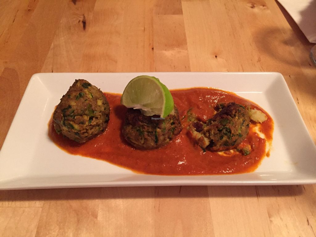 """Photo of Le Soixante 5  by <a href=""""/members/profile/mfpeters"""">mfpeters</a> <br/>spicy zucchini and potato 'meatballs' <br/> August 1, 2015  - <a href='/contact/abuse/image/60739/111917'>Report</a>"""