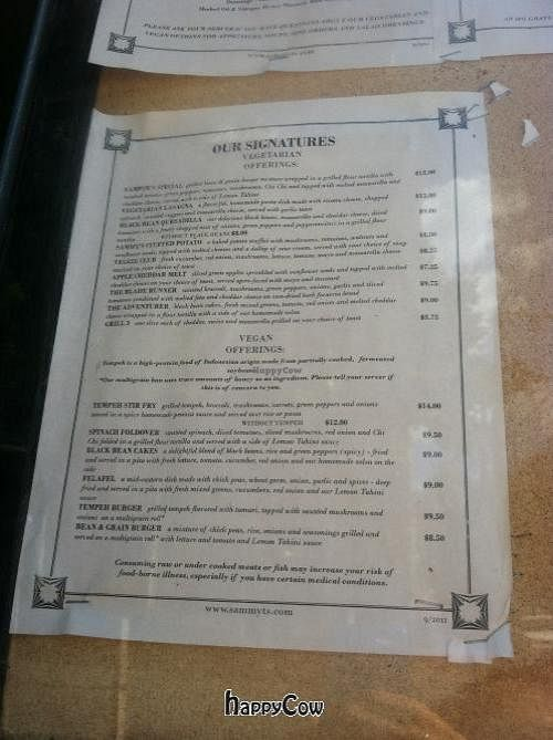 """Photo of Sammy T's  by <a href=""""/members/profile/Brew99"""">Brew99</a> <br/>Vegan options posted outside.  It's usually the same options all the time <br/> September 12, 2012  - <a href='/contact/abuse/image/6075/37804'>Report</a>"""