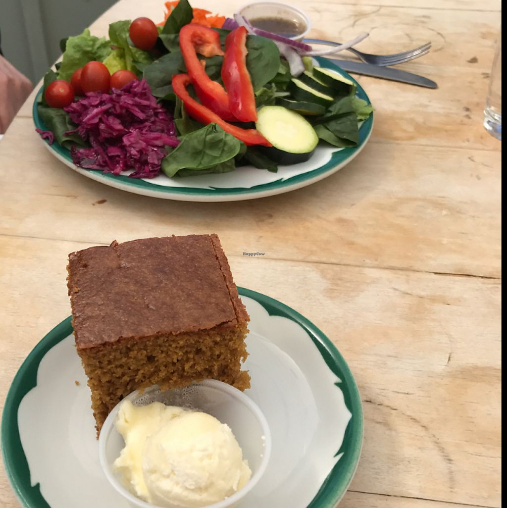 """Photo of Veronica's Coffee House  by <a href=""""/members/profile/Sarah%20P"""">Sarah P</a> <br/>salad with honey cornbread and butter <br/> May 14, 2017  - <a href='/contact/abuse/image/60785/258563'>Report</a>"""