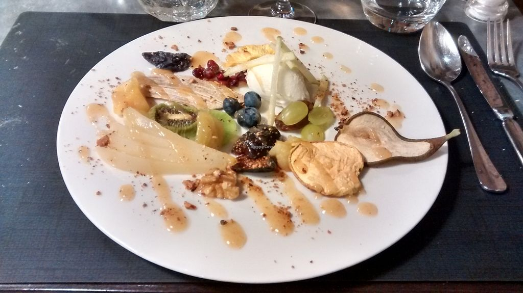 """Photo of CLOSED: La Table des Roy  by <a href=""""/members/profile/JonJon"""">JonJon</a> <br/>'Promenade hivernale': Variations on winter fruits, fresh, dried and marinated, spiced pear syrup, olive oil sorbet  <br/> February 26, 2016  - <a href='/contact/abuse/image/60804/137830'>Report</a>"""