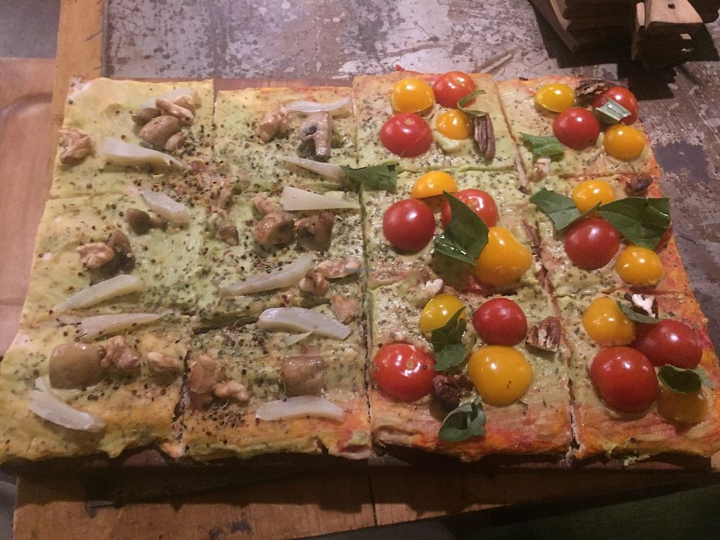 """Photo of Veggie Pizza - Miraflores  by <a href=""""/members/profile/joegelay"""">joegelay</a> <br/>Cordillera Blanca and Original varieties done """"vegan style"""" with avocado """"cheese"""". Looks better than it tastes.  <br/> December 31, 2017  - <a href='/contact/abuse/image/60855/341464'>Report</a>"""