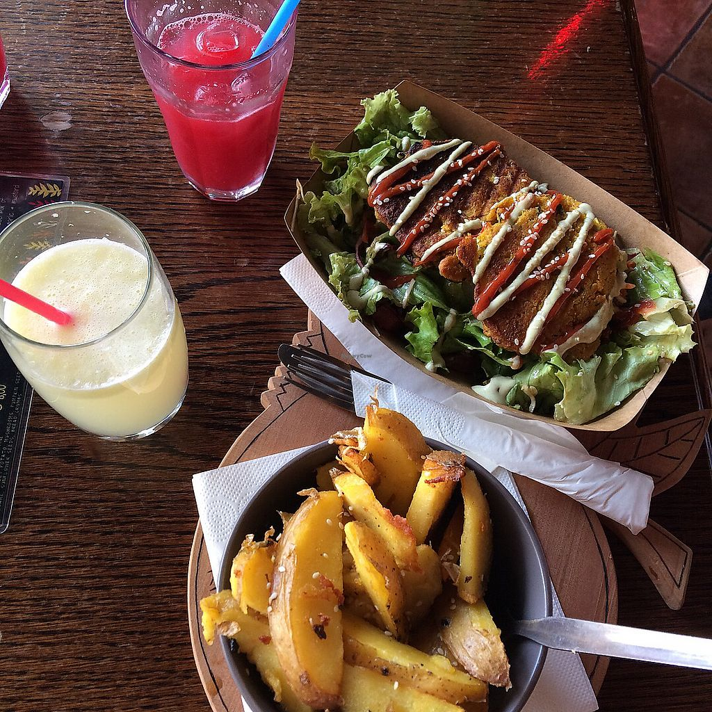 "Photo of Public Bar & Vegan Kitchen  by <a href=""/members/profile/Nayvee"">Nayvee</a> <br/>Lemonade, watermelon juice, potato wedges and chickpea fritters on salad - all amazingly delicious  <br/> October 1, 2017  - <a href='/contact/abuse/image/60913/310793'>Report</a>"