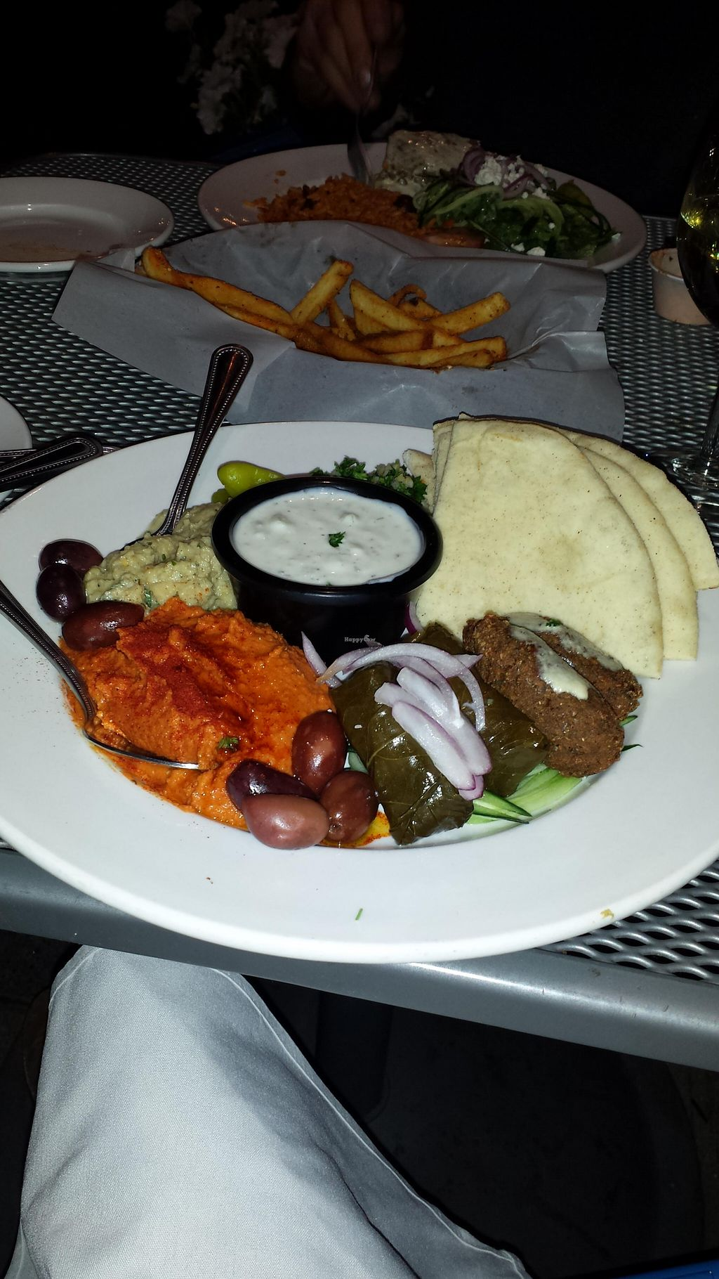 """Photo of Artemis Lakefront Cafe  by <a href=""""/members/profile/ciaoyoco"""">ciaoyoco</a> <br/>Assortment of great vagen appetizers  (except for the one in the center). The orange one has too much (probably ) paprika to my liking. But overall, great food <br/> August 8, 2015  - <a href='/contact/abuse/image/60978/112767'>Report</a>"""