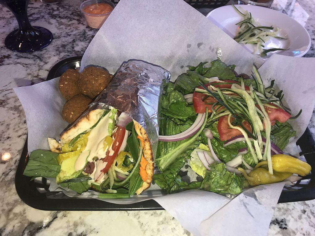 "Photo of Artemis Lakefront Cafe  by <a href=""/members/profile/JaedaJames"">JaedaJames</a> <br/>Veggie Pita add falafel-greek salad side option  <br/> October 9, 2017  - <a href='/contact/abuse/image/60978/313775'>Report</a>"