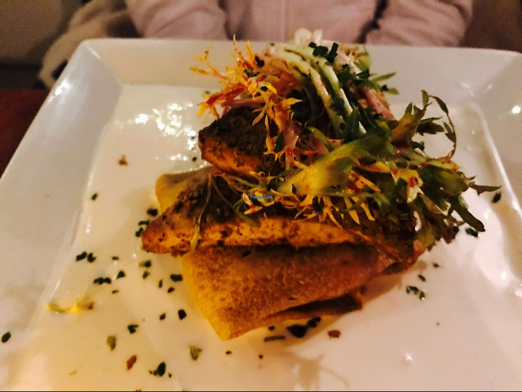 """Photo of Blossom Restaurant  by <a href=""""/members/profile/DavidFournier"""">DavidFournier</a> <br/>pistachio crusted tofu with root vegetable crepe  <br/> December 23, 2016  - <a href='/contact/abuse/image/6097/204185'>Report</a>"""