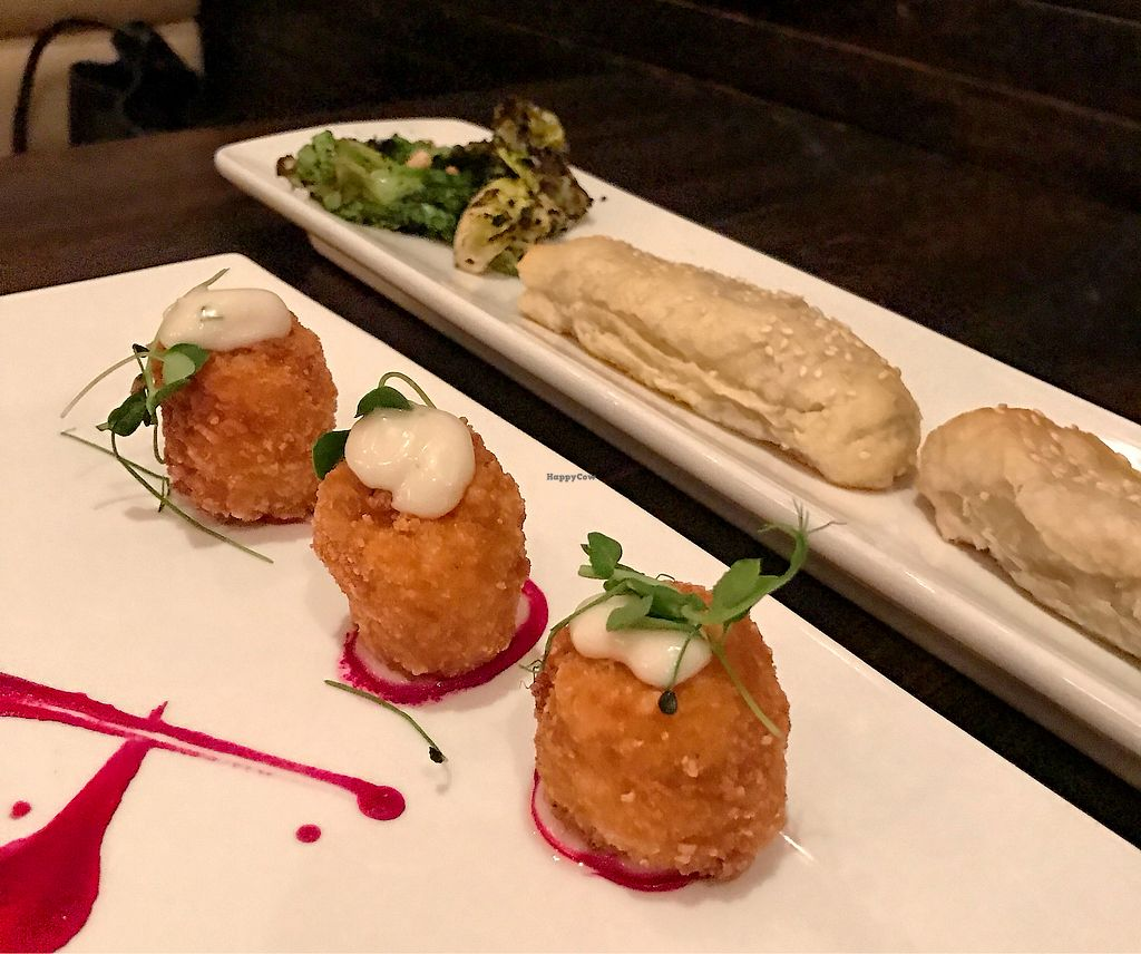 """Photo of Blossom Restaurant  by <a href=""""/members/profile/ElleMarie"""">ElleMarie</a> <br/>Buffalo Risotto Croquettes and Spinch/Cashew Bourekas <br/> February 7, 2018  - <a href='/contact/abuse/image/6097/355854'>Report</a>"""