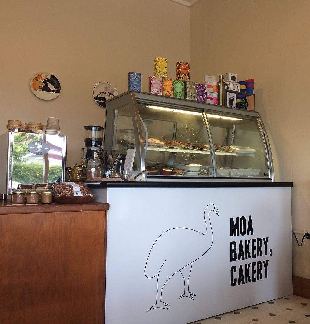 """Photo of MOA Bakery Cakery  by <a href=""""/members/profile/Plantpower"""">Plantpower</a> <br/>The cabinet with the delicious food - top shelf sweets, bottom shelf savory goodies <br/> April 12, 2018  - <a href='/contact/abuse/image/60988/384674'>Report</a>"""
