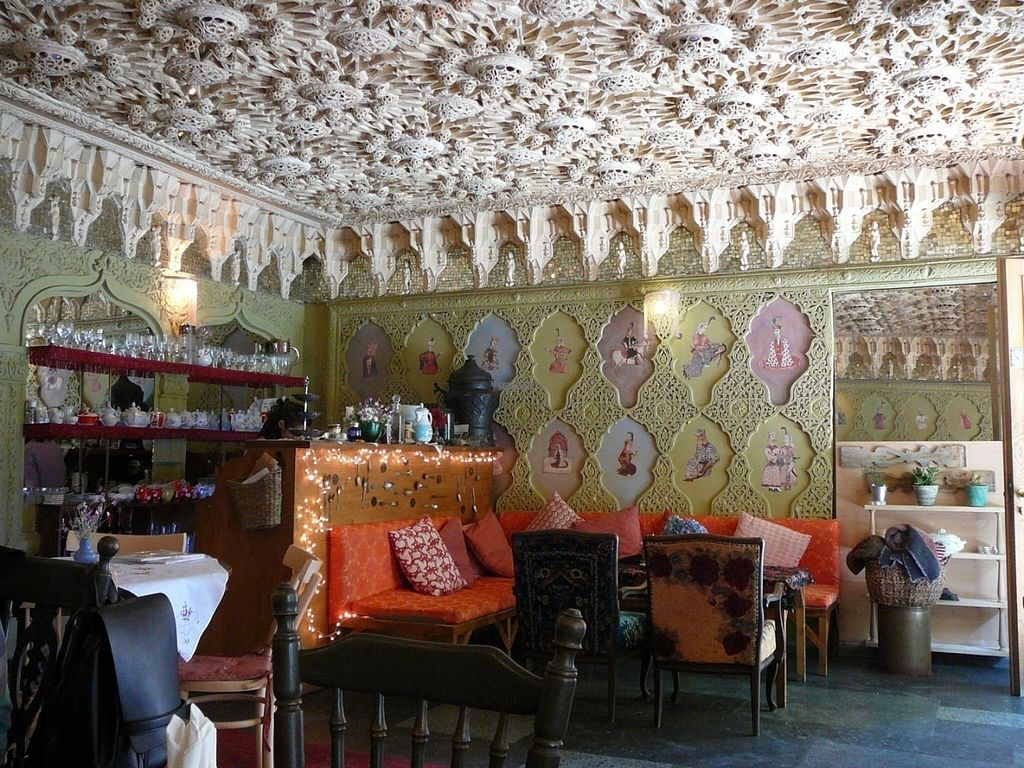 """Photo of Kafe Leila  by <a href=""""/members/profile/Hugh02"""">Hugh02</a> <br/>Interior with fantastic ceiling (and air-conditioning) <br/> August 23, 2016  - <a href='/contact/abuse/image/61044/171001'>Report</a>"""