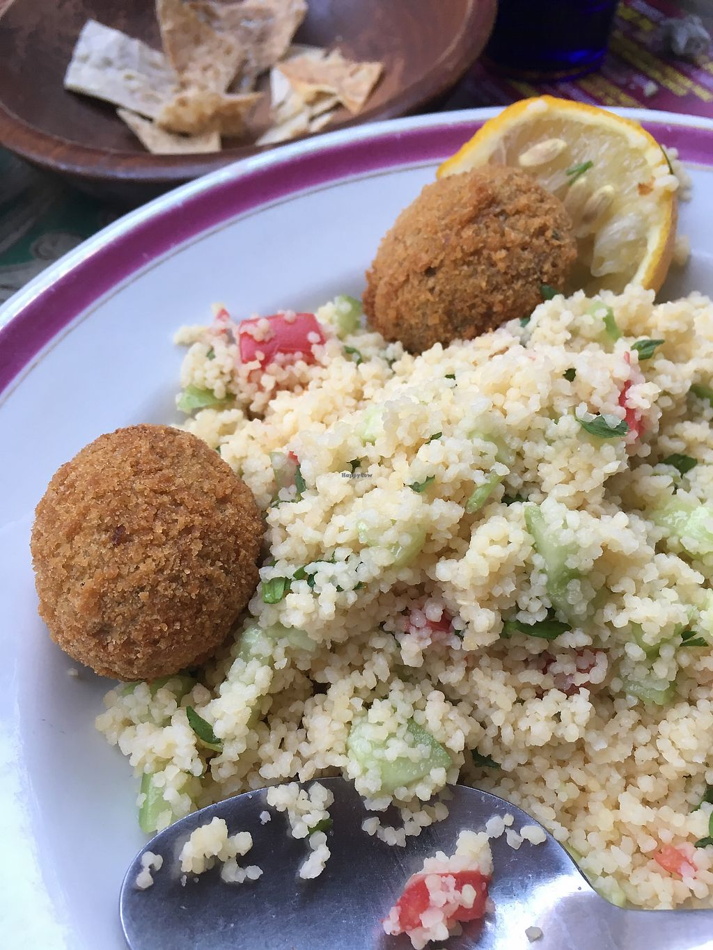 """Photo of Kafe Leila  by <a href=""""/members/profile/KatyaOh"""">KatyaOh</a> <br/>Falafel with couscous  <br/> September 5, 2017  - <a href='/contact/abuse/image/61044/301175'>Report</a>"""