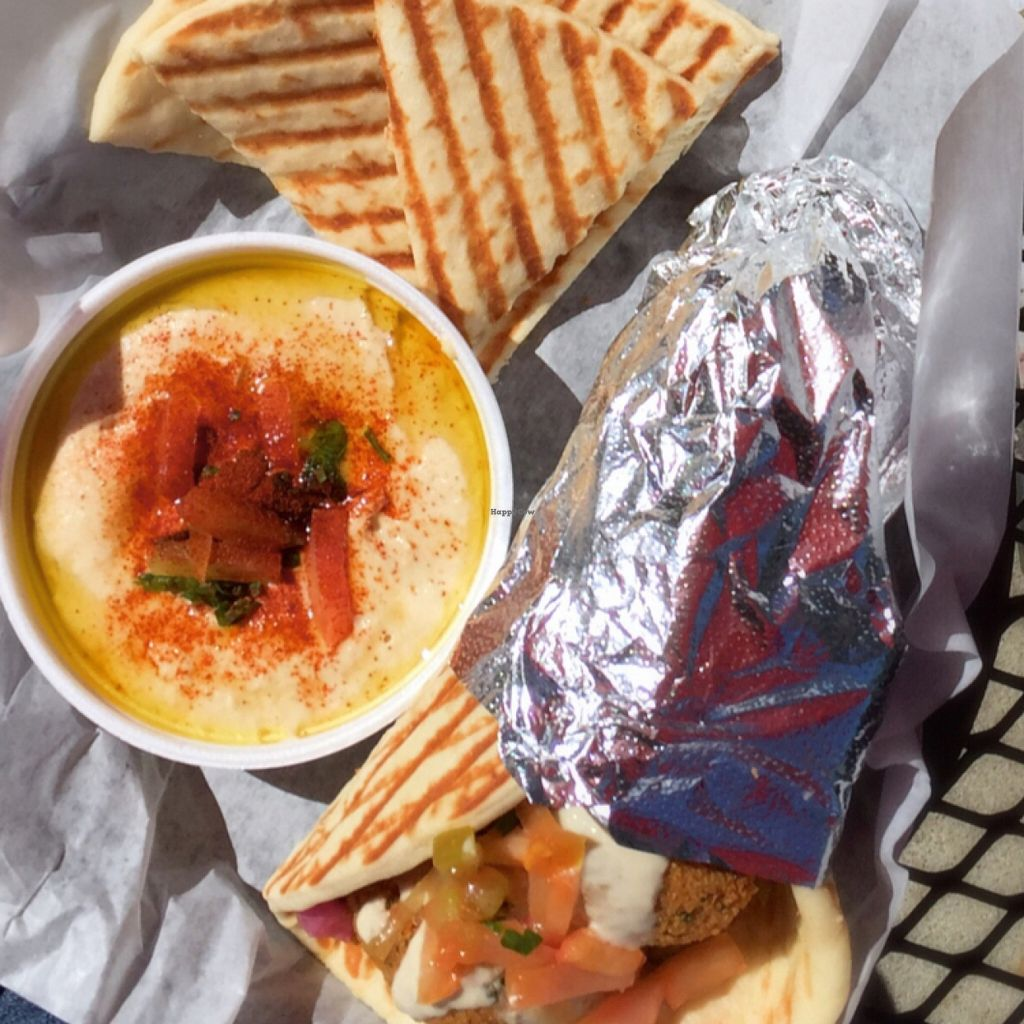 """Photo of Pita Corner  by <a href=""""/members/profile/veganadvocate"""">veganadvocate</a> <br/>Falafel Pita with a side of Hummus <br/> March 17, 2016  - <a href='/contact/abuse/image/61052/140257'>Report</a>"""